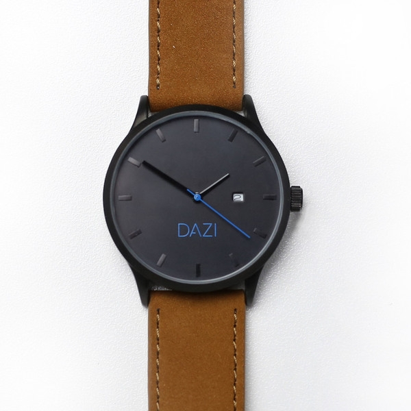 DAZI_Black_Stainless_Steel_Watch_Brown_Leather_Band
